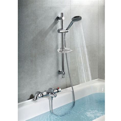Bathroom Taps With Shower Thermostatic Bath Shower Mixer Tap Deck Mounted Shower Valve Slider Rail Kit Ebay
