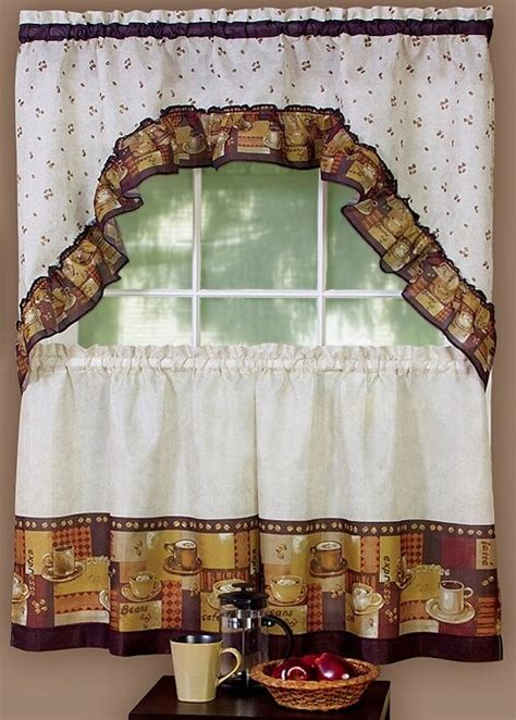 8 adorable coffee themed kitchen curtains 40 00