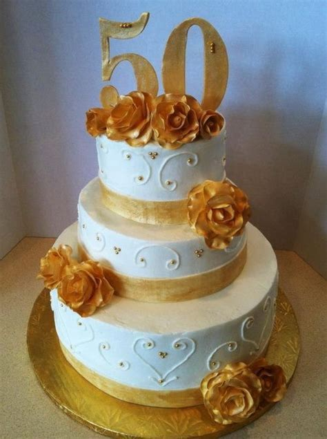 3 tier 50th anniversary cake   Wedding Cakes   50th