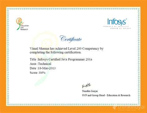 Infosys Experience Letter Gc Vimal Sharma Trainer In Baruali Derabassi For Bca Tuition