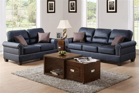 sofa loveseat ottoman set poundex aspen f7877 black leather sofa and loveseat set