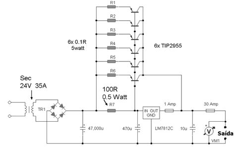 high current power supply circuit schematic 7812 power supply high current