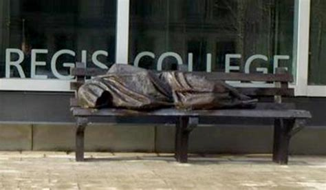 homeless jesus on park bench jesus the homeless sculpture rejected by catholic