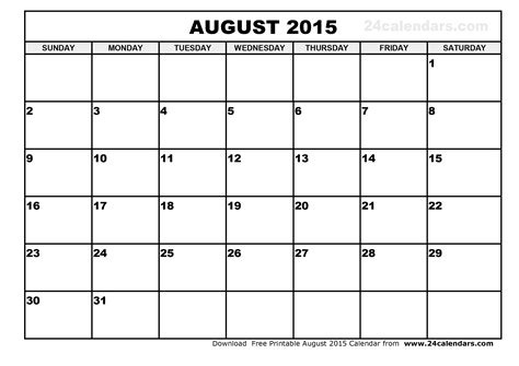 calendar layout august 2015 august 2015 calendar printable