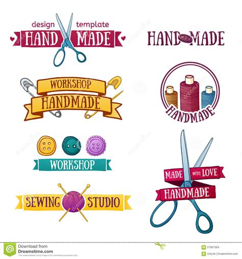 Logo Etiketten by Set Of Labels With Sewing Symbols Vector Illustration