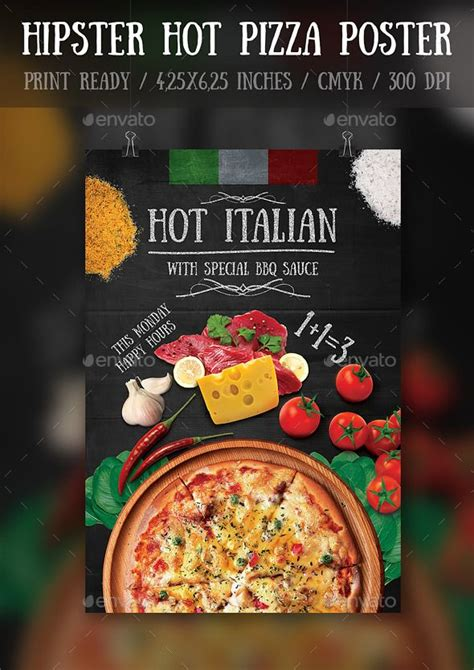 template flyer pizza hipster hot pizza party flyer poster template pizza