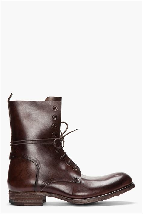boot for officine creative brown leather culatta lace up boots