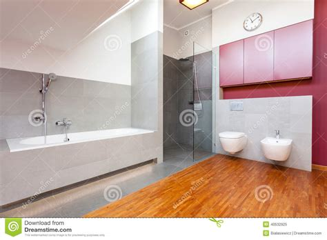 grey and red bathroom red and grey modern bathroom stock photo image 40532925