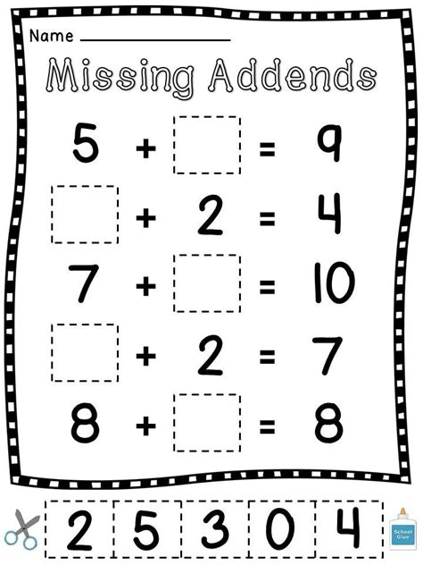 Missing Addend Worksheets Grade