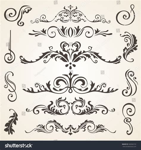 vector wedding design elements and calligraphic page decoration calligraphic design elements page decoration vector stock