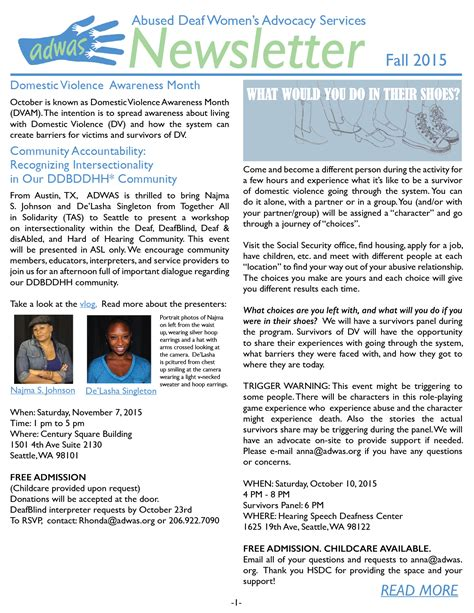 New Letter adwas deaf s advocacy services 187 newsletters