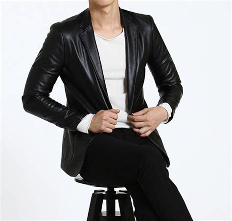 Jaket Blazer Pria Coolmen Black cool casual mens black leather blazer jacket with modern side pockets