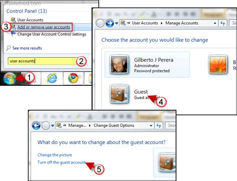 windows 7 password reset guest account how to turn on off the guest account in windows 7