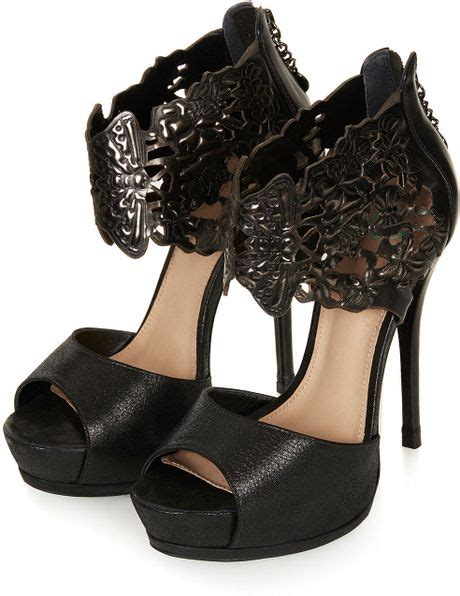 topshop orbit embossed cuff platform shoes by cjg in black