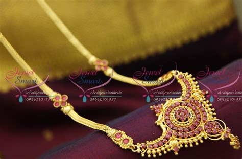 Nl2949 Ruby Broad Pendant Flat Chain Gold Plated Haram