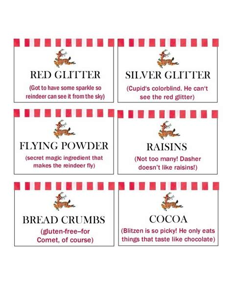 free printable reindeer dust labels labels for a reindeer buffet to make reindeer mix for