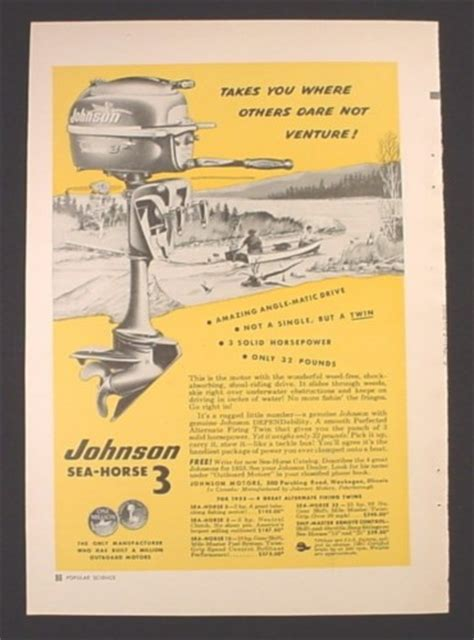 celebrity boat manuals magazine ad for johnson sea horse 3 outboard motor one