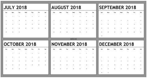Calendar 2018 6 Month December 2018 Calendar Pdf Calendar Template Excel