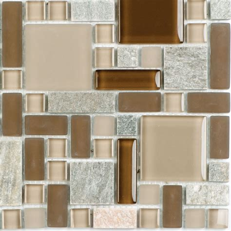Fusion Brown Pattern Glass Mosaic | fusion national pool tile group