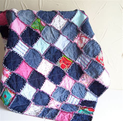 Jeans Blanket Pattern | denim rag quilt tutorial pdf pattern picnic blanket