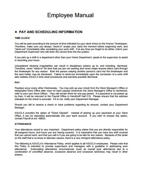 9 Sle Employee Manual Templates Sle Templates Employee And Policy Template