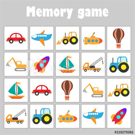 memory game  pictures  transport