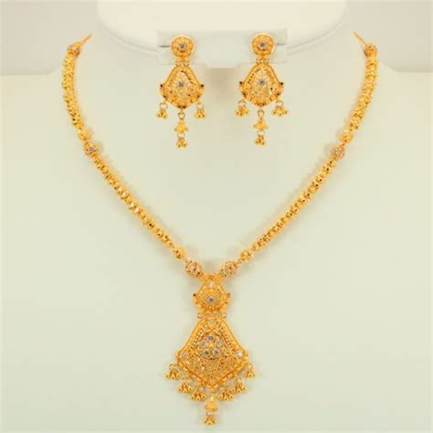 Kalung Set India Ns 32 22 carat indian gold fancy necklace set 32 8 grams gold