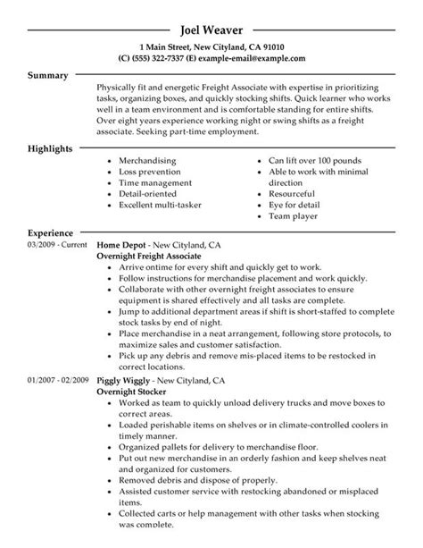 sle resume for overnight stocker part time overnight freight associates resume exles