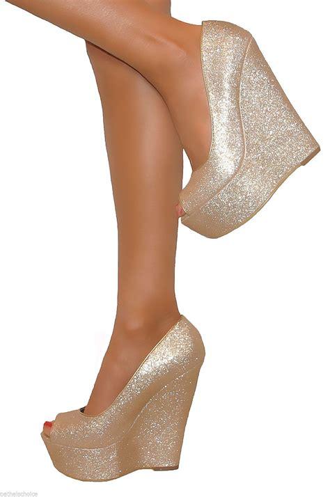 Wedges Slip On Va gold glittery peep toe wedge heels shoe