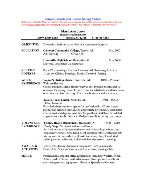 Resume Exles For Nursing Students by Best Free Resume Template Resume Templates