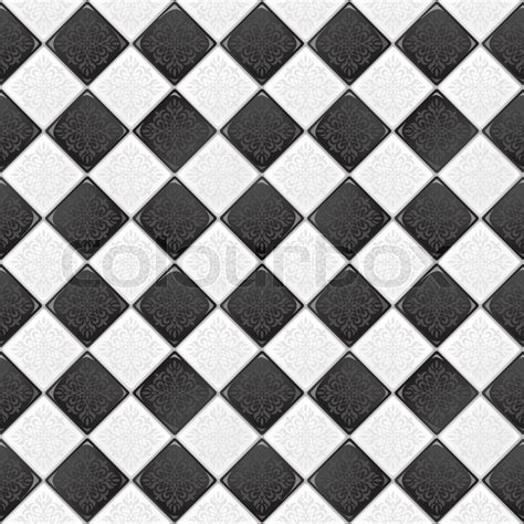 black and white tile black and white tile with retro ornament eps 10 vector seamless background stock