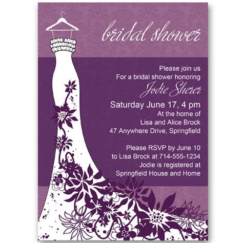 cheap purple wedding invitations classic purple floral wedding dress bridal shower