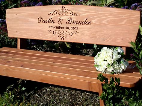 engraved benches wedding bench custom engraved redwood bench cedar stain for