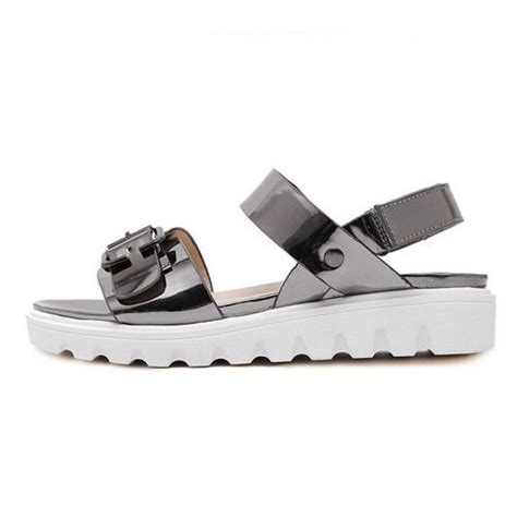 Sandal Crome metallic chrome white sole buckle sandals