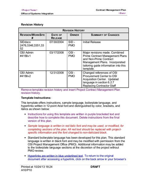 Contract Management Plan 4156v2 System Integration Contract Template
