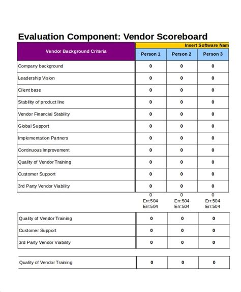 vendor scorecards templates excel scorecard template 6 free excel documents