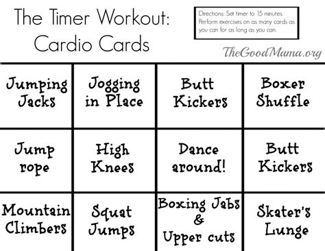 printable exercise program cards the timer workout an easy way for busy moms to workout