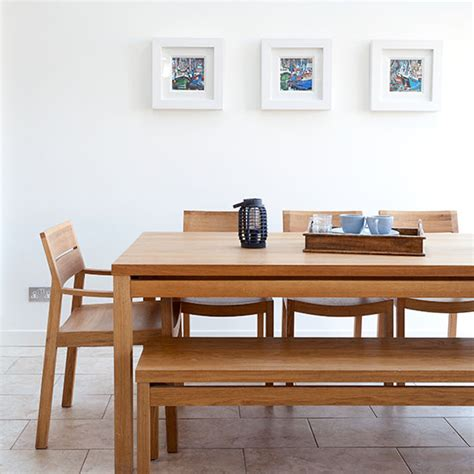coastal living dining room ideal home housetohome updating white dining room with oak table and benches decorating