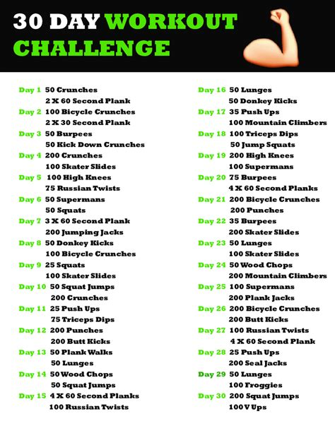30 day home workout plan 2018 30 day workout plan fillable printable pdf forms