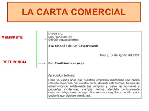 carta formal membrete la carta comercial