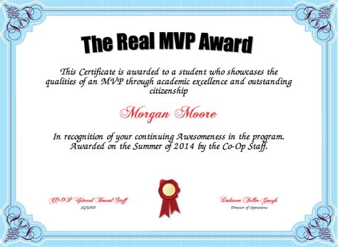 most valuable player award one free printable certificate