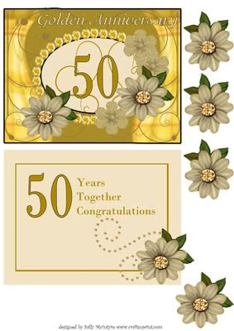 Golden 50th Wedding Anniversary with Insert and 3D Flowers