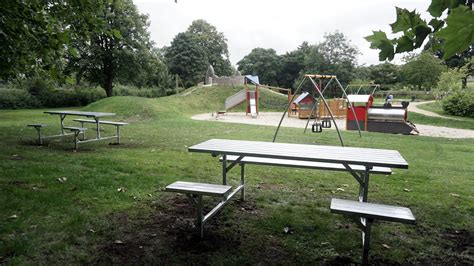 shiny new picnic benches for cale park play area