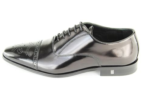 versace collection s black spazzolato brogue dress shoes