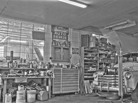 Kaos Dads Auto Shop auto shop black and white hdr photo of my dads shop
