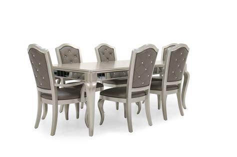 seven piece button tufted 63 dining set in