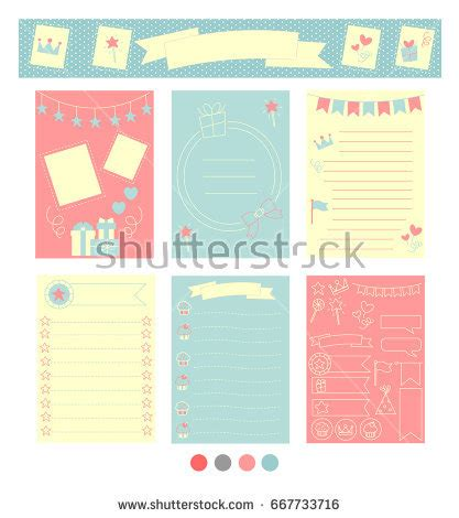 paper cards cut notebook template signs symbols organized your planner template stock vector