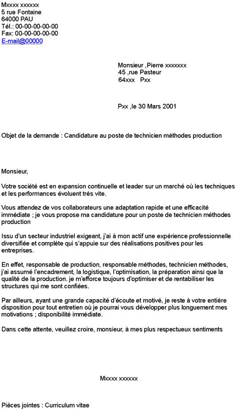 search results for lettre motivation technicien de