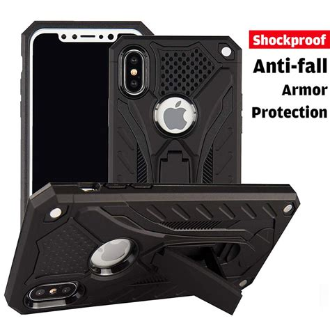 iphone xs max armor case  stand storage hybrid pc