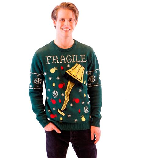 ugly christmas sweater with lights a christmas story fragile leg l light up led lighting